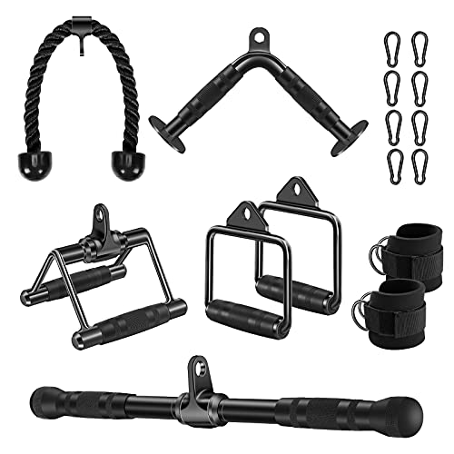Lat Pulldown Attachments, Cable Attachments for Gym Weight Lifting, Tricep Press Down Rope, V Bar, Double D Handles, Ankle Straps, Lat Pull Down Bar Cable Machine Attachment Home Gym Accessories