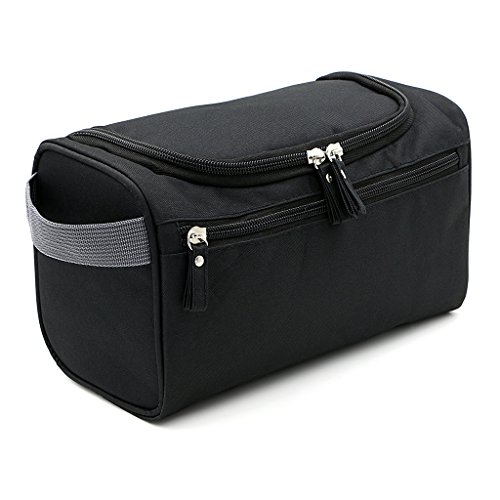 Hipiwe Mens Toiletry Bag Organizer for Travel Water Resistance Cosmetic Bag Hanging Dopp Kit Bag Portable Wash Gym Shaving Grooming Bag Bathroom Hygiene Dopp Kit for Men and Women (Black)