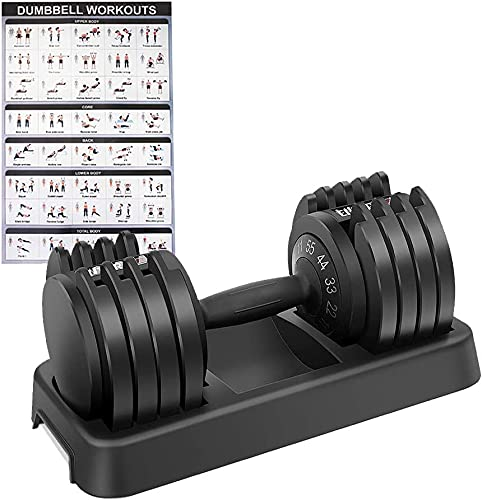 EnterSports Adjustable Dumbbell 55 lbs Weight with Workout Exercise Posters Dumbbell for Men Women Body Workout Fitness Home, Office, Gym