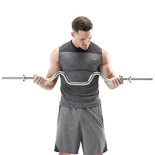 Marcy Triceps and Biceps Combo Curl Bar for 1-inch Weight Plates Weightlifting Strength Training Accessory for Home Gym TBC-51