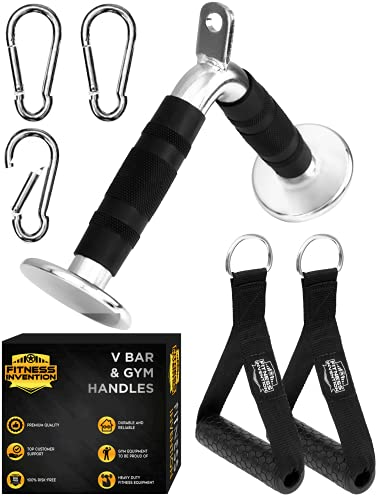 Fitness Invention V Bar Cable Attachment - Tricep V Bar, 2 Gym Handles, 3 Carabiners - Cable Machine Attachment - Cable Attachments for Gym - Cable Machine Accessories - Tricep Pushdown Bar - V bar