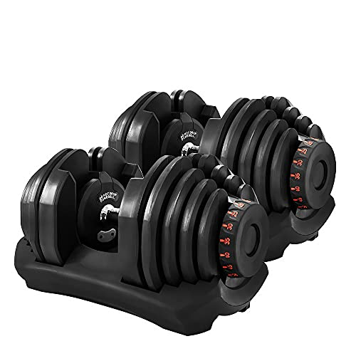 Gorilla Gadgets Home Office Gym 15 Weight Adjustable Dumbbell Workout Set for Women and Men 10-90 Lbs