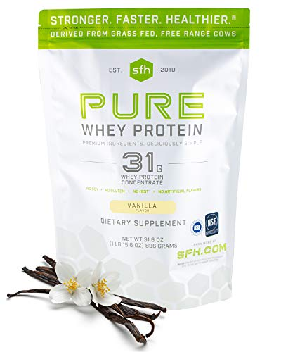 SFH Pure Whey Protein Powder by SFH | Best Tasting 100% Grass Fed Whey | All Natural | 100% Non-GMO, No Artificials, Soy Free, Gluten Free (Vanilla, 31.6 Ounce (Pack of 1))