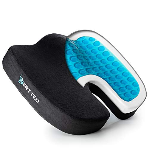 Comfortable Seat Cushion by Vertteo – Coccyx Donut Pillow – Ergonomic Comfort Seat Cushion for Back and Tailbone Support – Memory Foam and Cooling Gel Pad – U-Shaped Zero Gravity Office Chair Cushion