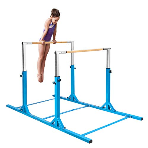 Costzon Double Horizontal Bars, Junior Gymnastic Training Parallel Bars w/11-Level 38-55' Adjustable Heights, 264lbs Capacity, Ideal for Indoors, Outdoor, Home Practice (Blue)