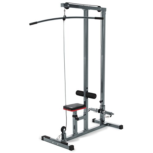Akonza Home Workout Lat Pull-down Machine  High and Low Pulley Stations and Handle Barsfor Upper Body Fitness and Exercise - Gray