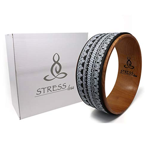 Stress Less Yoga Wheel - Strong and Comfortable Dharma Yoga Prop Wheel, Perfect for Stretching + Increase Flexibility (Black)