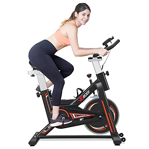 VIGBODY Stationary Exercise Bike Indoor Cycling Bike for Cardio Workout, with Comfortable Seat Cushion, LCD Monitor for Home Training Bike