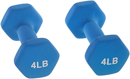 AmazonBasics 4 Pound Neoprene Dumbbells Weights - Set of 2, Blue