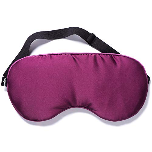 Unimi Sleep Eye Mask Moist Heated Eye Mask, Silk Eye Shade with Lavender & Flaxseed, Microwaveable Weighted Sleep Mask for Dry Eyes, Puffy Eyes, Pink Eyes, Hot Compress for Migraine,Sinus Pain Purple