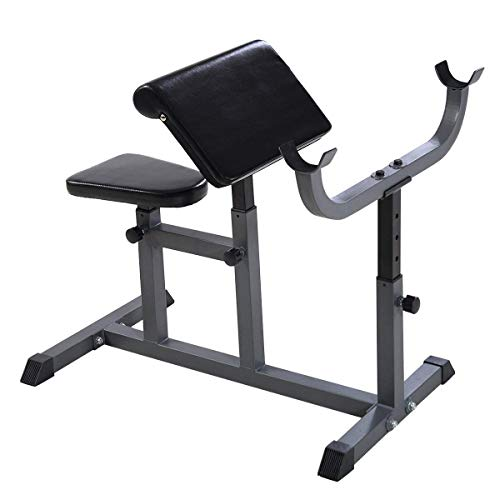 GYMAX Preacher Curl Weight Bench, Heavy Duty Adjustable Arm Curl Bench for Upper Limb Muscle Strength Training, Daily Exercise & Workout, Isolated Barbell Dumbbell Biceps Station (Black)