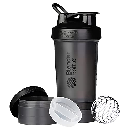BlenderBottle Shaker Bottle with Pill Organizer and Storage for Protein Powder, ProStak System, 22-Ounce, Black