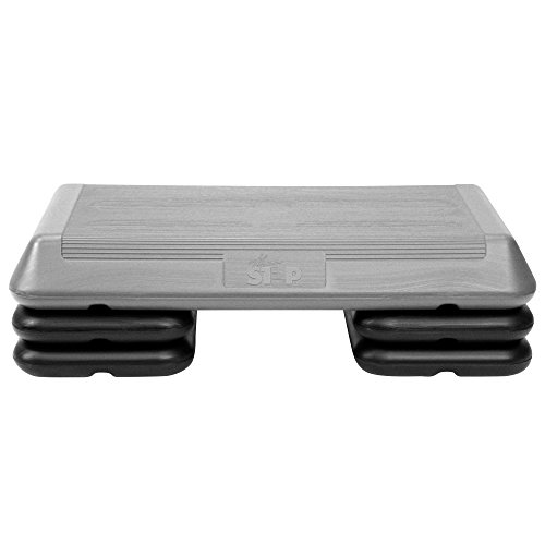 The Step (Made in USA) Original Aerobic Platform – Circuit Size Grey Aerobic Platform and Four Original Black Risers Included with 4, 6, and 8 Platform Height Options