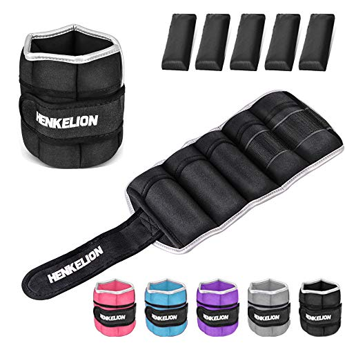 Henkelion 1 Pair 4Lbs Adjustable Ankle Weights for Women Men Kids, Wrist Weights Ankle Weights Sets for Gym, Fitness Workout, Running, Lifting Exercise Leg Weights - Each 2 Lbs Black