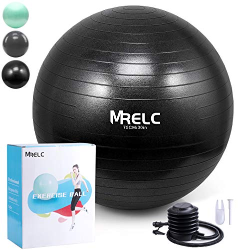 MRELC Exercise Ball Yoga Ball Fitness Ball Birthing Ball,(2200lbs Professional Grade Anti Burst Tested), Slip Resistant Stability Balance Ball for Fitness,Pilates & Yoga with Quick Pump (Black)