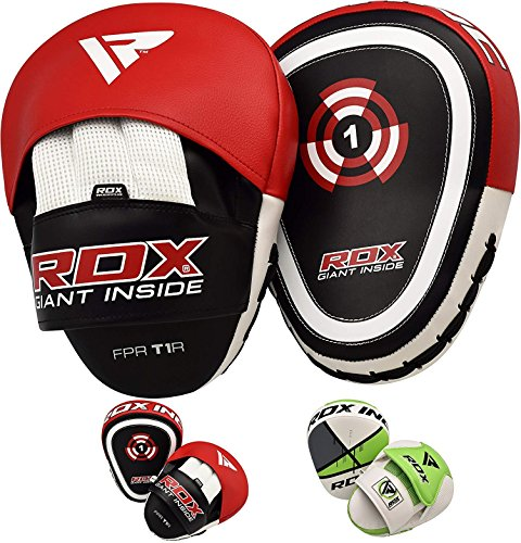 RDX Boxing Pads Focus Mitts |Maya Hide Leather Curved Hook and Jab Target Hand Pads | Great for MMA, Martial Arts, Kickboxing, Muay Thai, Karate Training | Padded Punching, Coaching Strike Shield