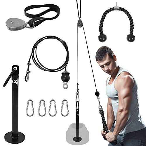 Yes4All LAT Pulley System with Plate Loading Pin & Pull Down Tricep Rope – Ultimate Cable Pulley Attachments for Standard & Olympic Weight Plates