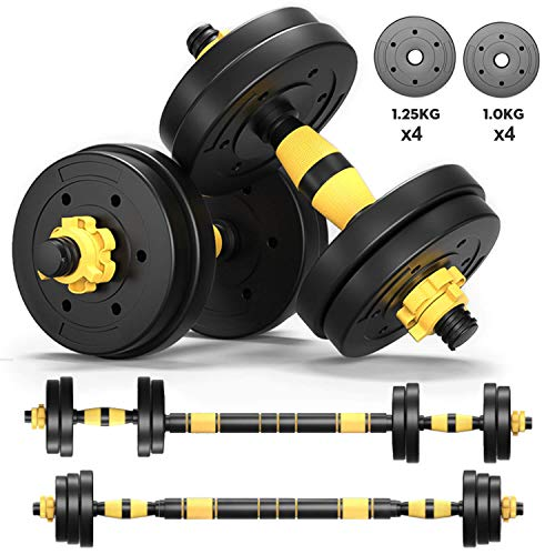 Dumbells Sets for Men Adjustable Dumbbell Barbell Weights 2 in 1 with Connected Rod, 10lb, 15lb, 20lb Dumbbells Set of 2, Dumbbells Pair Free Weights for Exercises Dumb Bells (20lb (10lb x 2))