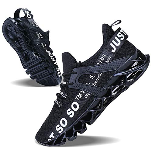 JSLEAP Mens Athletic Walking Shoes Casual Best Slip Running Training Workout Sneakers Black White,US 13