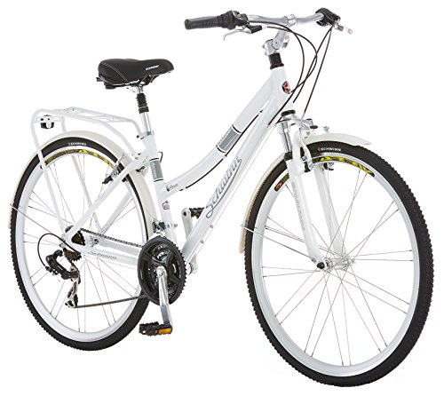 Schwinn Discover Hybrid Bike, Featuring 16-Inch/Small Aluminum Step-Through Frame with 21-Speed Drivetrain, Front and Rear Fenders, Rear Cargo Rack, and Kick-Stand, with 700c/28-Inch Wheels, White