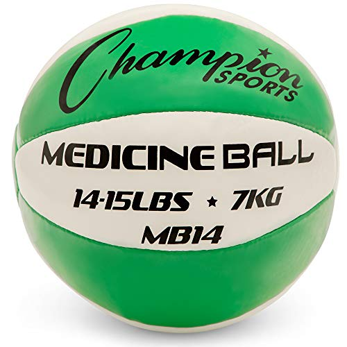 Champion Sports Exercise Medicine Balls, 14-15 lbs, Leather with No-Slip Grip - Weighted Med Ball Set for Weight Training, Stability, Plyometrics, Cross Training, Core Strength - Heavy Workout Ball