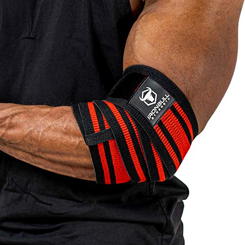 Iron Bull Strength Elbow Wraps for Weightlifting - PRO Line - Workout Elbow Straps for Weight Lifting, Bench Press, Powerlifting, Fitness and Gym - Medium Stiffness for Men (40', Red/Black)