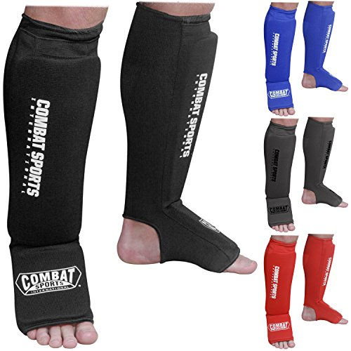 Combat Sports Washable MMA Training Instep Padded Shin Guards, Medium, Black