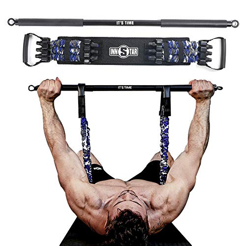 INNSTAR Adjustable Bench Press Band with Bar, Upgraded Push Up Resistance Bands, Portable Chest Builder Workout Equipment, Arm Expander for Home Workout,Gym,Fitness,Travel (Camo Marine Blue-105LB)