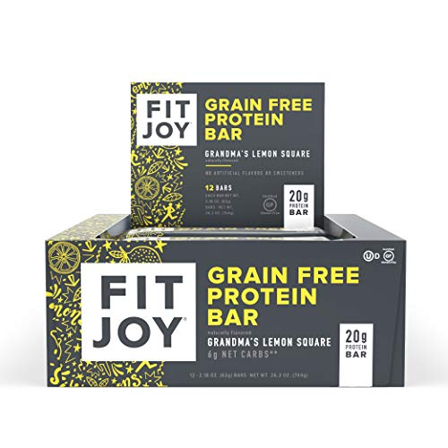 FitJoy Protein bar, Gluten Free, Grain Free, Low Sugar, High Protein Snack, Grandma's Lemon Square, Pack of 12 Bars (Packaging May Vary)