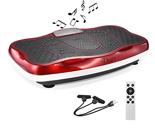 iDeer Vibration Platform Fitness Vibration Plates,Whole Body Vibration Exercise Machine w/Remote Control &Bands,Anti-Slip Fit Massage Workout Vibration Trainer Max User Weight 300lbs (Red09006)