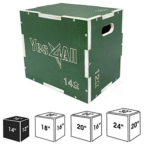 Yes4All 3 in 1 Non-Slip Wooden Plyo Box - Green - 16 x 14 x 12
