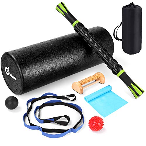 Odoland 8-in-1 18' Large Size Foam Roller Kit with Resistance Bands, Muscle Roller Stick, Stretching Strap, Massage Balls and Wood Massage Roller, Home Gym Set for Muscle Therapy and Balance Exercise