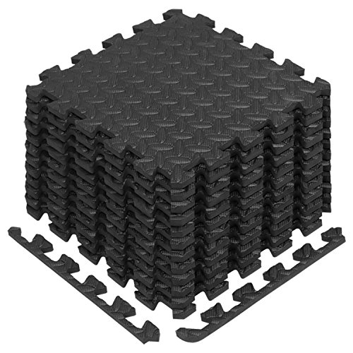 Yes4All Interlocking Exercise Foam Mats with Border – Interlocking Floor Mats for Gym Equipment – Eva Interlocking Floor Tiles (12 Square Feet, Black)