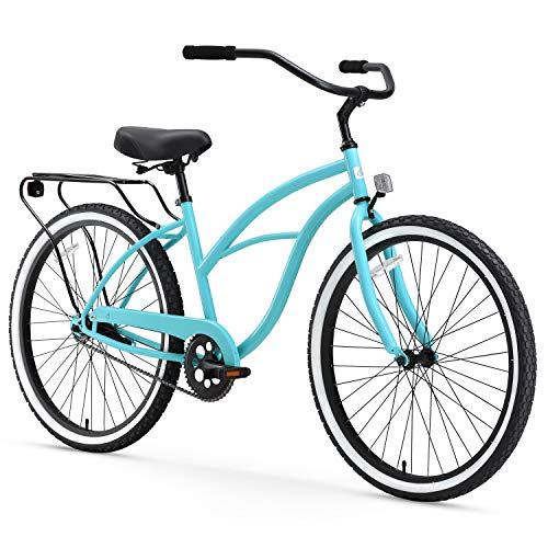 sixthreezero Around The Block Women's Single-Speed Beach Cruiser Bicycle, 24' Wheels, Teal Blue with Black Seat and Grips