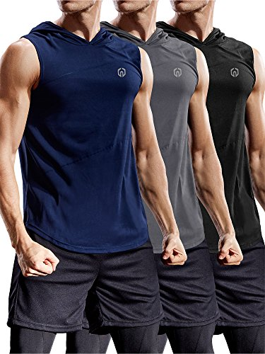 Neleus 3 Pack Workout Athletic Gym Muscle Tank Top with Hoods,5036,Black,Grey,Navy Blue,US M,EU L