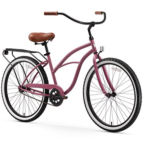 sixthreezero Around The Block Women's Single-Speed Beach Cruiser Bicycle, 26' Wheels, Plum Purple with Brown Seat and Grips