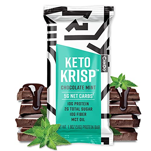Keto Krisp Protein Snack Bars - Low-Carb, Low-Sugar - (12 Pack, Chocolate Mint) - Gluten-Free Crispy, Perfectly Delicious, Ketogenic Healthy Diet Snacks and Food