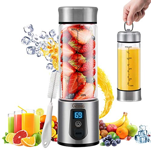 Portable Blender, G-TING Personal Smoothies Blender Cordless, Single Serve Mini Blender 450ml USB Rechargeable Small Juice Mixer Portable Juicer (Shakes, Smoothies, Home, Travel & Gym) FDA BPA Free (Renewed)