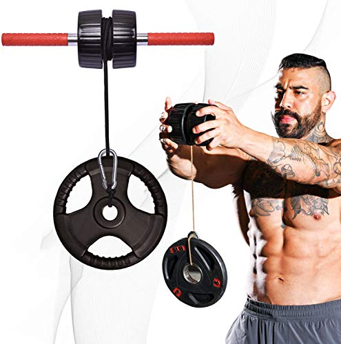 DMoose Forearm Exerciser, Wrist Exerciser and Wrist Roller, Forearm Workout Equipment, Forearm Blaster Strength Trainer and Workout Tool, Hand Grip Roller, Anti-Slip Handles