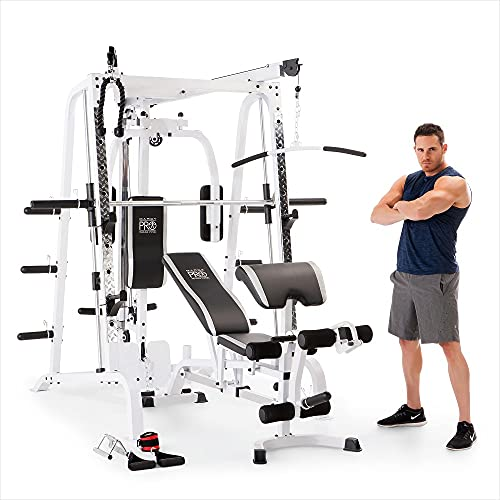Marcy Pro Smith Cage Workout Machine Total Body Training Home Gym System, White