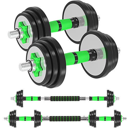 Adjustable Dumbbells Barbell Weight Set, 44Lbs/20KG Weight Dumbbells Set with Bar - Dumbbell Barbell 3 in 1 for Men Women Home Gym Workout Anti-Drop & Non-Slip