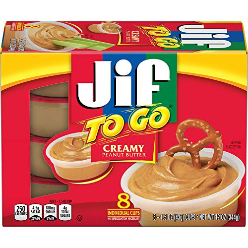 Jif To Go Creamy Peanut Butter, 48-1.5 Ounce Cups, 7g (7% DV) of Protein per Serving, Smooth and Creamy Texture, Snack Size Packs