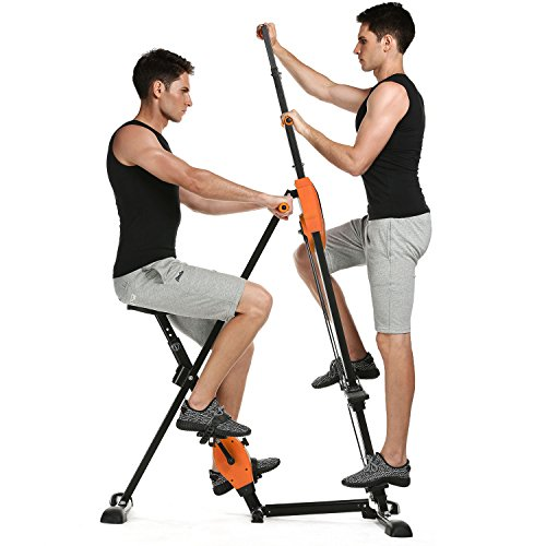 Caroma 2-in-1 Resistance Vertical Climber Magnetic Exercise Bike Foldable Exercise Step Machine Cardio Exercise for Indoor Home Gym Total Body Workout and Hip Grips Legs Arms Abs Training (Orange)