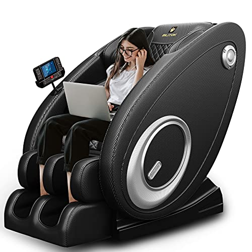 2021 New Massage Chair Blue-Tooth Connection and Speaker, Recliner with Zero Gravity with Full Body Air Pressure, Easy to Use at Home and in The Office (Black)