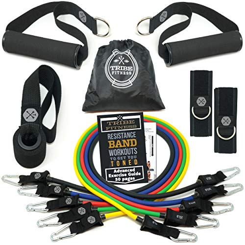 TRIBE Resistance Bands Set and Weights for Exercises I Exercise Bands for Men with Workout Bands, Handles, Door Anchor, Ankle Straps, Carry Bag, Exercise eBook I Resistance Training, Fitness Equipment