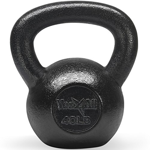 Yes4All Solid Cast Iron Kettlebell Weights Set – Great for Full Body Workout and Strength Training, K - Black 40lb