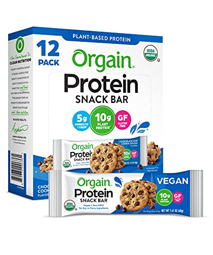 Orgain Organic Plant Based Protein Bar, Chocolate Chip Cookie Dough - Vegan, Gluten Free, Non Dairy, Soy Free, Lactose Free, Kosher, Non-GMO, 1.41 Ounce, 12 Count (Packaging May Vary)