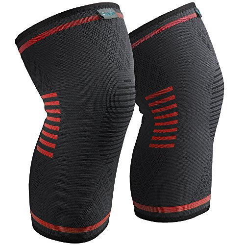 Sable Knee Brace Support Compression Sleeves for Men and Women, 1 Pair Wraps Pads for Arthritis, ACL, Running, Pain Relief, Injury Recovery, Basketball and More Sports (Orange, Small)