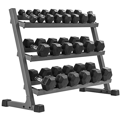 XMark's 550 lb. Dumbbell Set and Heavy Duty Rack, 5 to 50 lb Set of Hex Dumbbells, Dumbbells and Dumbbell Storage Rack