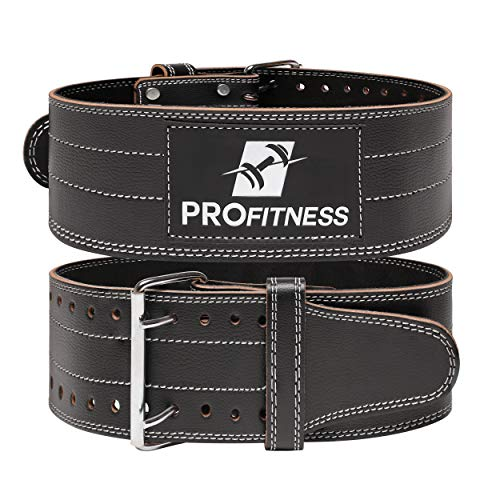 ProFitness Weight Lifting Belt Back Support for Men and Woman Leather Weightlifting Belt Comes with (Black/White, Medium)
